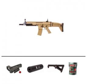 Pack FN SCAR-L ABS AEG Desert 1.3J + Red Dot + Silencieux + Poignée Verticale + Sachet 4000 Billes 0.25g