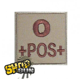 Patch velcro groupe sanguin O+ tissu Coyote